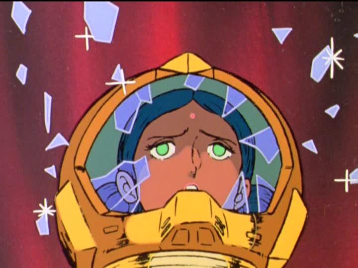 アムロの攻撃からシャアをかばい戦死したララァ・スン(『機動戦士ガンダム』第41話「光る宇宙」の劇中より)