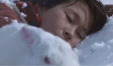 雪ん子の亡骸のそばには、可愛がっていた白ウサギだけが寄り添っていた。