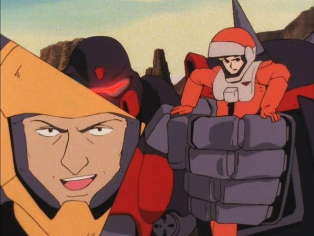 ザンスカール帝国の軍人「ゴズ・バール」は、人質とするために「ミューラ・ミゲル」をモビルスーツ「ゾリディア」の手で掴んだ状態で、ウッソの乗るモビルスーツ「V2ガンダム」と戦う。