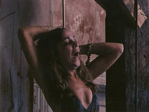 何が起こっているのかわからず泣き叫んでいる女性を「屠殺場のフック」にひっかけるシーンは、かなり痛々しい。ホラー史に残る「痛いシーン」として語り草になっている。