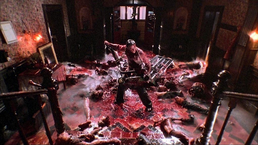 ブレインデッド(1992年)のクライマックスのスプラッタ・シーン。映画史上最大量と言われるおびただしい量の血しぶきが広がる。