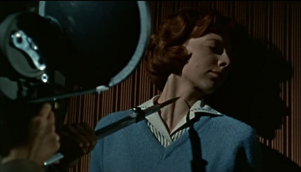 カメラの三脚に仕込んだ兇器を被写体に突き付けて、スナッフ映像を狙う『血を吸うカメラ』は、スラッシャー映画の源流と評されることが多い。