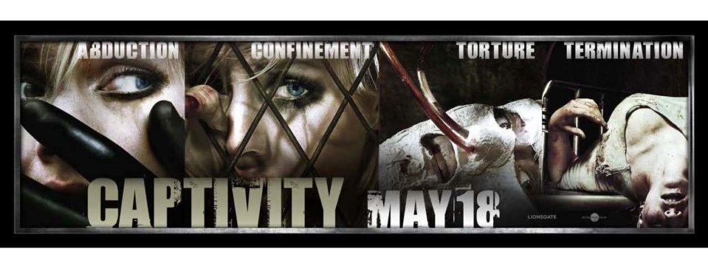 『キャプティビティ』の拉致、監禁、拷問、処刑の文字とともに女性被害者のキービジュアル(主役を演じたカナダ人の女優、モデルのエリシャ・カスバートのアップになった顔のデザイン)を掲示した衝撃的な屋外看板が、「アメリカ映画協会」(MPAA)から猛烈に批判を受け、すべての看板広告の撤去と作り直しを命じられた。広告を見かけた親たちから苦情が多く寄せられたためとMPAAは処分の理由を説明している。