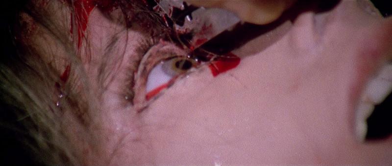 カミソリの刃で眼球を切り裂くショックシーン。ルチオ・フルチ監督の渾身の目玉を切り裂くシーンが本作の目玉となっている。
