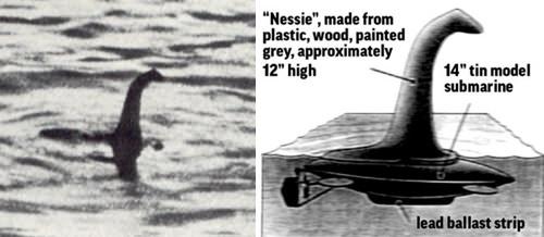 「外科医のロバート・ウィルソン氏の写真」の真相・・・捏造。ただのトリック写真だった・・・おもちゃの潜水艦に30センチメートルほどのネッシーの首の模型を付けた物を撮影した。