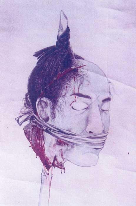 正傳寺の「渡邊金三郎」掛け軸。出典:月刊ムー公式ウェブ・ムー PLUS「1976年 目を開ける掛け軸の生首/戦後日本オカルト事件」