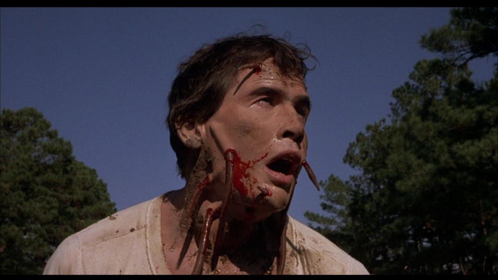 ロジャーの顔を、複数のゴカイが食い破る。ロジャーの顔の皮膚に入り込むゴカイはホラー史に残る不気味なグロ描写。