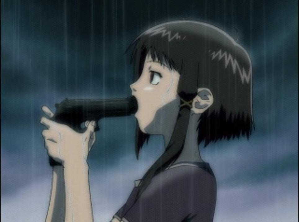 岩倉 玲音(いわくら れいん)は、拳銃で自殺をする。後味の悪い鬱エンド。