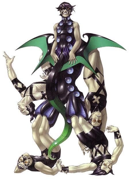 『ペルソナ2 罪』の最終ボス「グレートファーザー」は、ニャルラトホテプの戦闘時における化身の一つ。