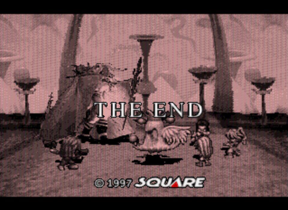 ゲーム上での最終ボス「地獄の君主」と死闘を繰り広げるブルー/ルージュ一行。ついにとどめをさしたその瞬間、まるで時が止まったかのように画面が停止して、風景を含めた全てがセピア色に染まっていく。THE END。