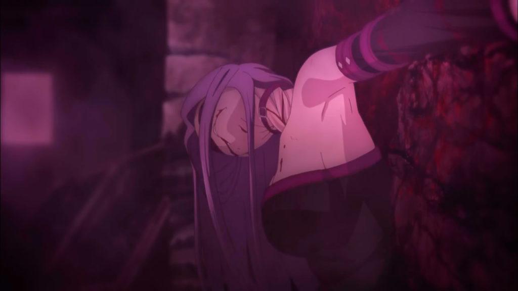 ライダー/メドゥーサ(Fate/staynight)の壮絶な最期は、猟奇的なホラー演出もあり、視聴者にトラウマを刻み込んだ。ライダーのねじれている首がぐるぐる回り元に戻る描写は衝撃的だった。
