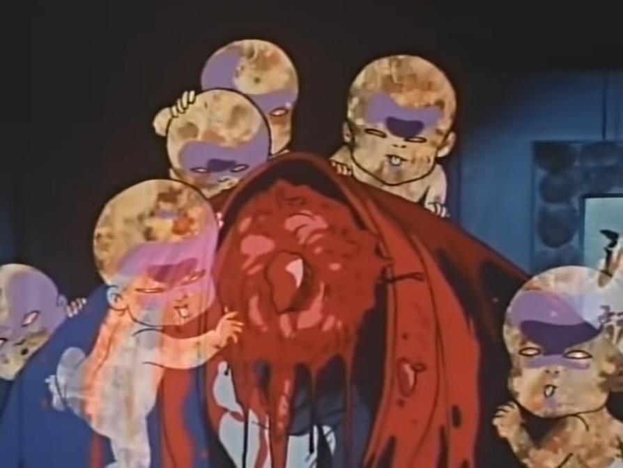 闇の力と邪気を集中して、赤子の怨霊をまとわり付かせる「宿儺鬼礫の産子寄せ」によって首チョンパ。壮絶なグロすぎる人体破壊描写になっている。