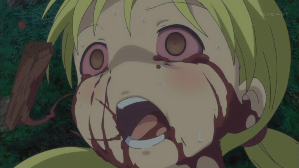 腕を負った時の壮絶なリコの顔…。