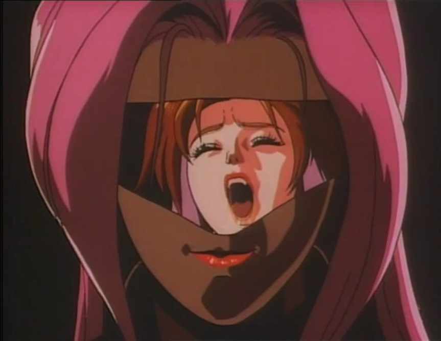 OVA『AD.POLICE』第2話「ザ・リッパー」の冒頭のパラダイス・ループ(電車)内での殺人事件。若い娼婦が、機械化によって人間性を失った女性の殺人鬼に下腹部(子宮)を切り取られ殺される。