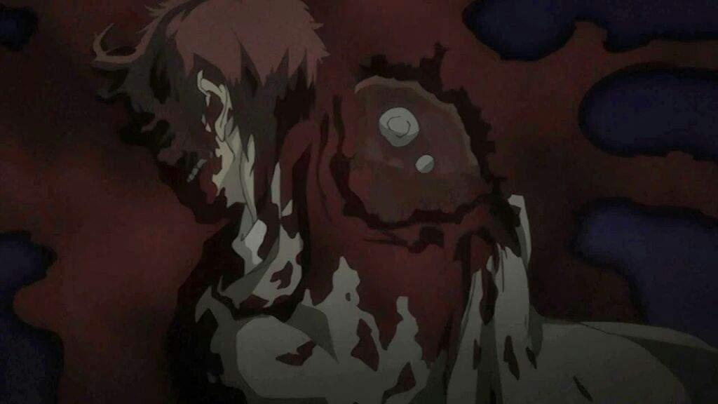 「BACCANO!」に登場する伝説の殺し屋のクレア・スタンフィールドに殺された壮絶な遺体。まるで大根をおろすかのように、走行している列車から顔面を地面に押し付けられて削り取られている。