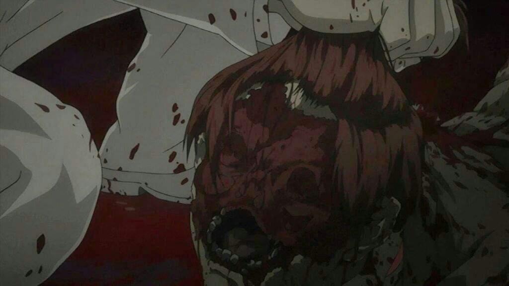 クレア・スタンフィールドによって、線路に顔面を押し付けられて削り取られた遺体はトラウマ級の残酷描写。ラッドは、血の海になっている殺された仲間の遺体の酷さに興奮している。(「BACCANO!」第9話「クレア・スタンフィールドは忠実に職務を遂行する」)。