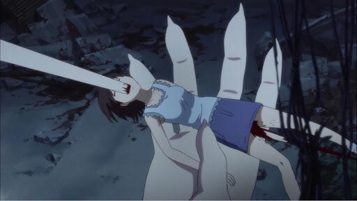 量産型〈古きもの〉に串刺しにされる残虐シーン(BLOOD-C(ブラッド シー)の無修正版の映像)