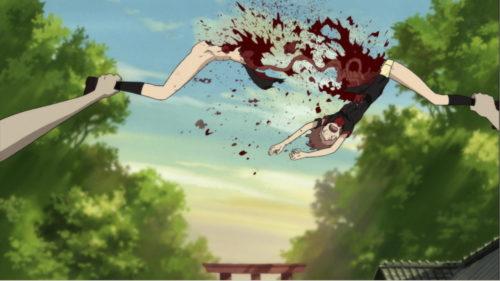 求衛ののは、両足を掴まれて股裂きにされるという方法で惨殺され喰われる形で粛清された。アニメ史に残る壮絶なグロ・スプラッター(人体破壊)描写として有名。