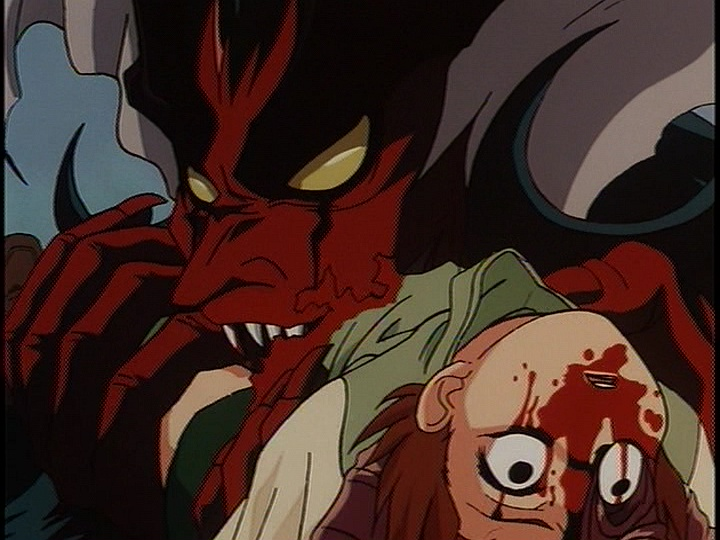 明の体を乗っ取って復活した勇者アモンが、少女デビルマン・ユミを生きたまま貪り食うシーンは、残虐すぎるグロ描写として悪名高い。
