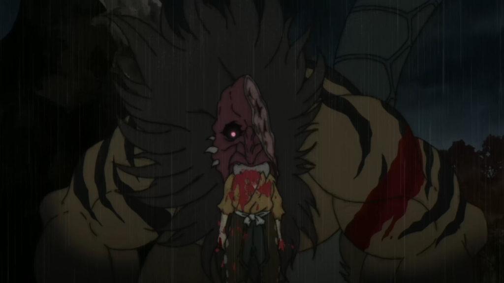 鵺(ぬえ)に食われる賽の目の三郎太(TVアニメ『どろろ』第20話「鵺の巻」)。