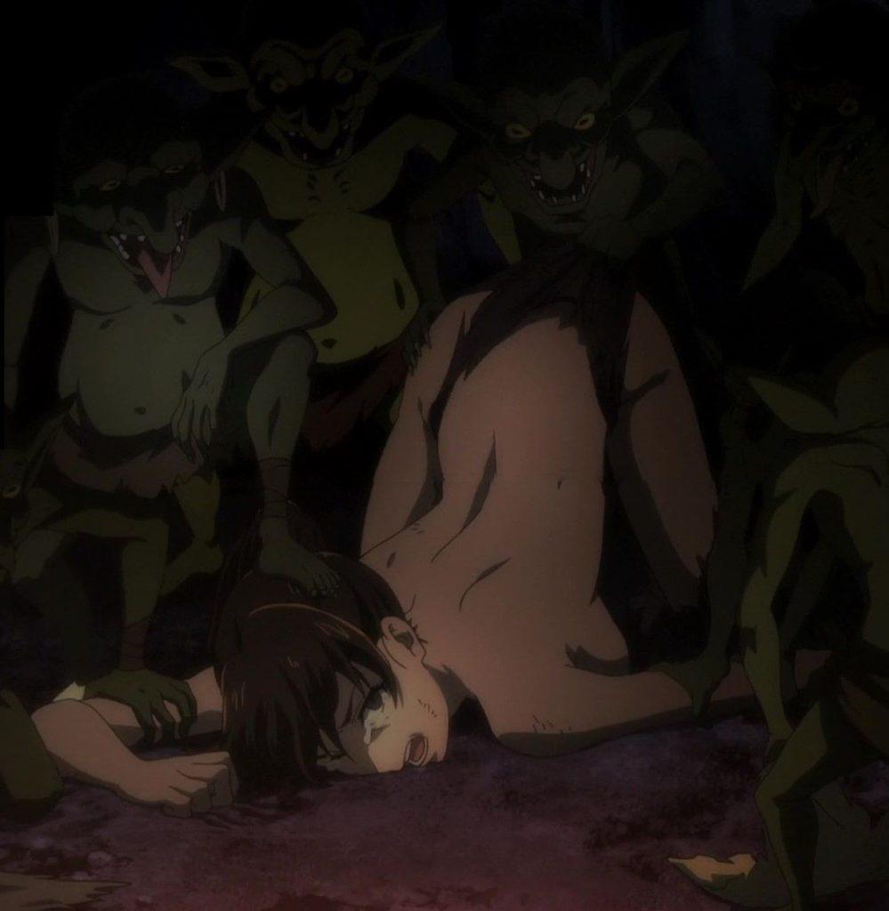 女武闘家は、巨大ゴブリンに倒され、種付けの為に衣服を引き裂かれ凌辱されてしまう絶望感いっぱいの鬱展開。