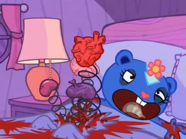 アメリカ発のFlashアニメ「ハッピーツリーフレンズ(Happy Tree Friends)」は、一見子ども向けのような可愛らしい動物のキャラクターが残虐かつグロテスクな目に遭うグロアニメ。