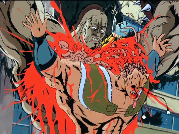 北斗神拳で(主に悪党の)人間の頭や胴体が破裂する描写、「ひでぶ」「あべし」「たわば」などといった断末魔の悲鳴などが人気を博した。