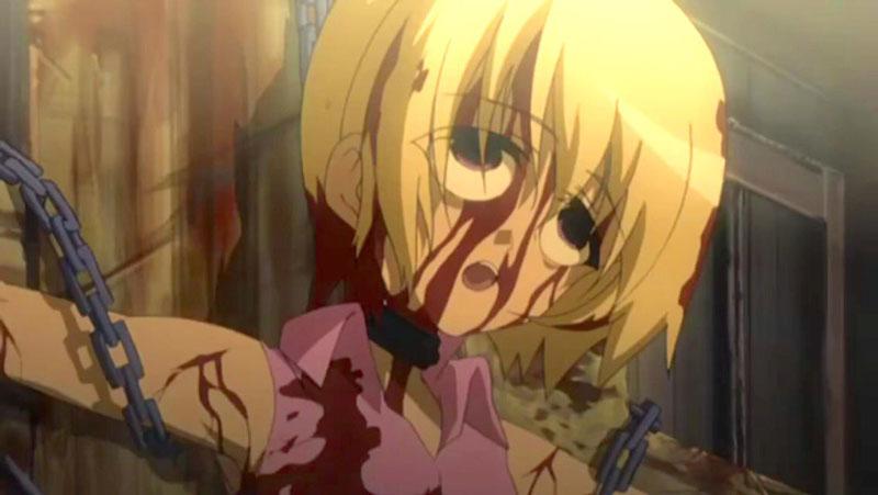 『ひぐらしのなく頃に解 目明し編』で園崎詩音が北条沙都子を拷問して残虐に殺すシーンはとても有名。