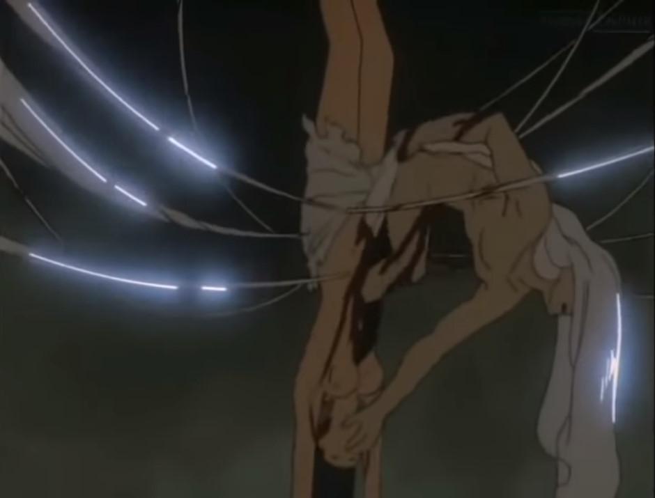 OVA『魔界転生』の「地獄篇 第二歌」の終盤の見所である秘術「魔界転生」のシーン。生贄の女性の体(子宮・腹部)を突き破って、天草四郎時貞が姿を露出していく。非常に残虐なグロシーンとなっている。天草四郎時貞は、新たな肉体を持った魔人として生まれ変わった。生贄の女性の体は原形をとどめていないバラバラになっている。