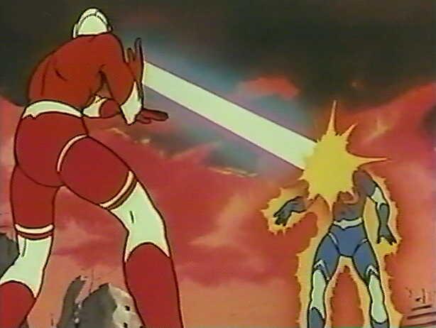 偽物は、本物とのプラニウム光線の撃ち合いで青く変色してから爆発。