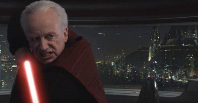 シスとしての正体を現した銀河共和国元老院最高議長のパルパティーン。メイス・ウィンドゥは少しも怯まず、逆にパルパティーンを追い詰める。