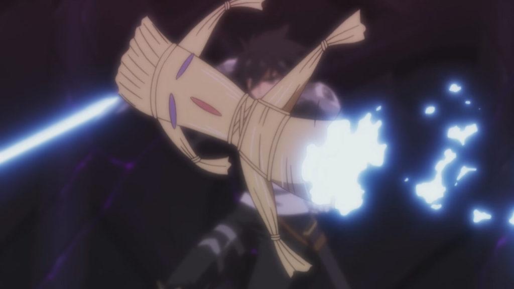 ヴァルハラ・ゲートの魔王をも貫く冥界の「針」と「リスタル毛人形」を合成して冥界の剣を作り出していた。