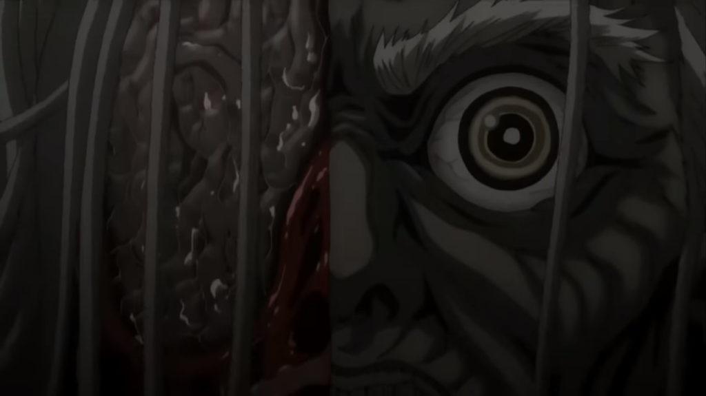 岩本虎眼の流れ星はかわされ、無明逆流れによって、虎眼は顔面を両断される。斬られた顔面の右側半分が崩壊する。脳ミソなどが流れ出して非常にグロい描写になっている。