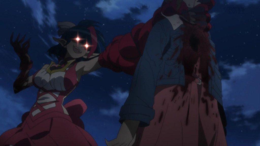 ミラアルクは、翼の眼の前でファンの少女の心臓を右腕で刺し貫いた。返り血を浴びる翼。