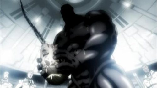 アニメ史に残る残虐描写のひとつ「脊髄をぶっこ抜き」。テラフォーマーが登場人物の脊髄をぶっこ抜いた挙句、それを剣代わりにして攻撃する。
