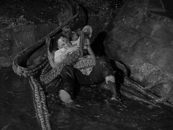 ベル・ラゴシが自ら「張りぼてのタコ」に絡みつき、必死に格闘を演じる。