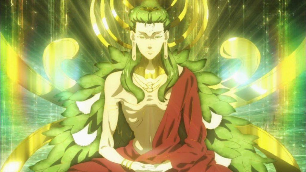 『Fate/EXTRA』のラスボスの「セイヴァー」/「覚者(ブッダ)」が登場し、赤セイバー(ネロ・クラウディウス)を圧倒する。