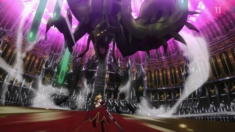 赤のアサシン・女帝セミラミスは、宝具『驕慢王の美酒(シクラ・ウシュム)』によって、ヒュドラ以上の毒を持ち竜種と同格と言えるほどの階位にある巨大蛇「バシュム」を召喚した。
