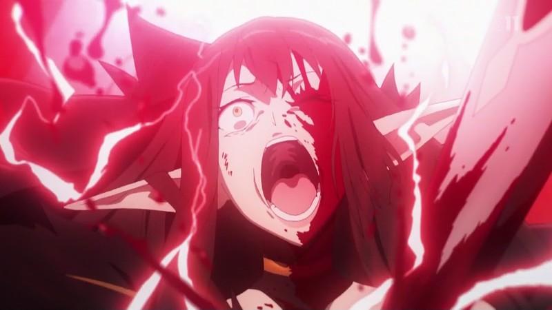赤のアサシン・女帝セミラミスは、対毒血清と令呪のサポートを受けた赤のセイバー・モードレッドの一撃により霊核を砕かれる。