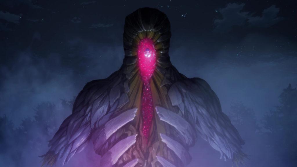 聖杯の寄り代になった間桐慎二の描写は、かなりグロイ状態になっている(『Fate/stay night [Unlimited Blade Works]』第22話)。