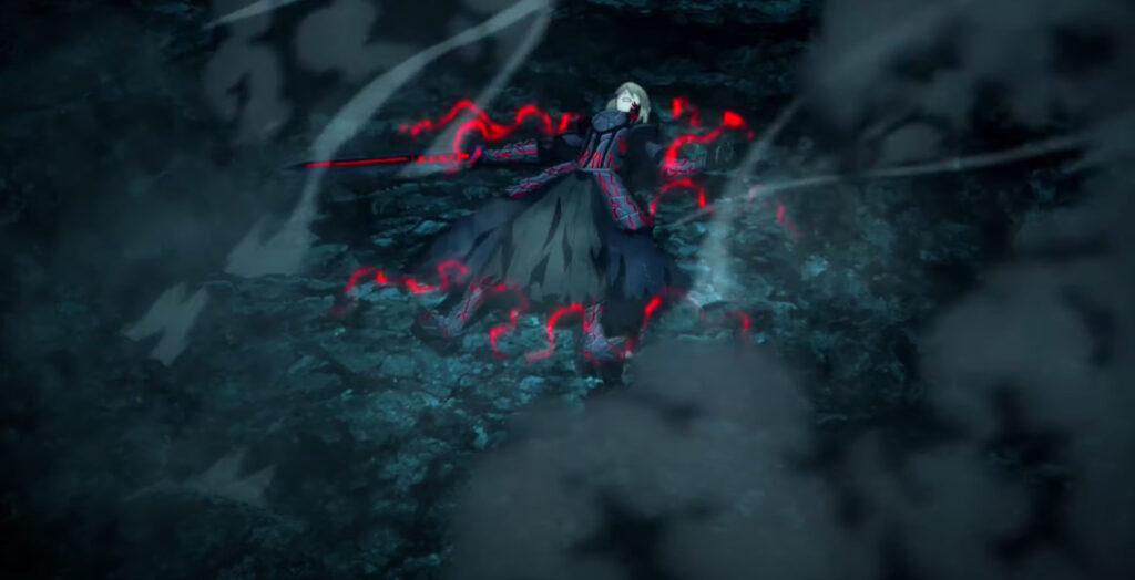 衛宮士郎がロー・アイアス(熾天覆う七つの円環)で、セイバーオルタのエクスカリバーからライダーと自身を防御して、最後には、宝具「騎英の手綱」(ベルレフォーン)によってセイバーオルタを破る。