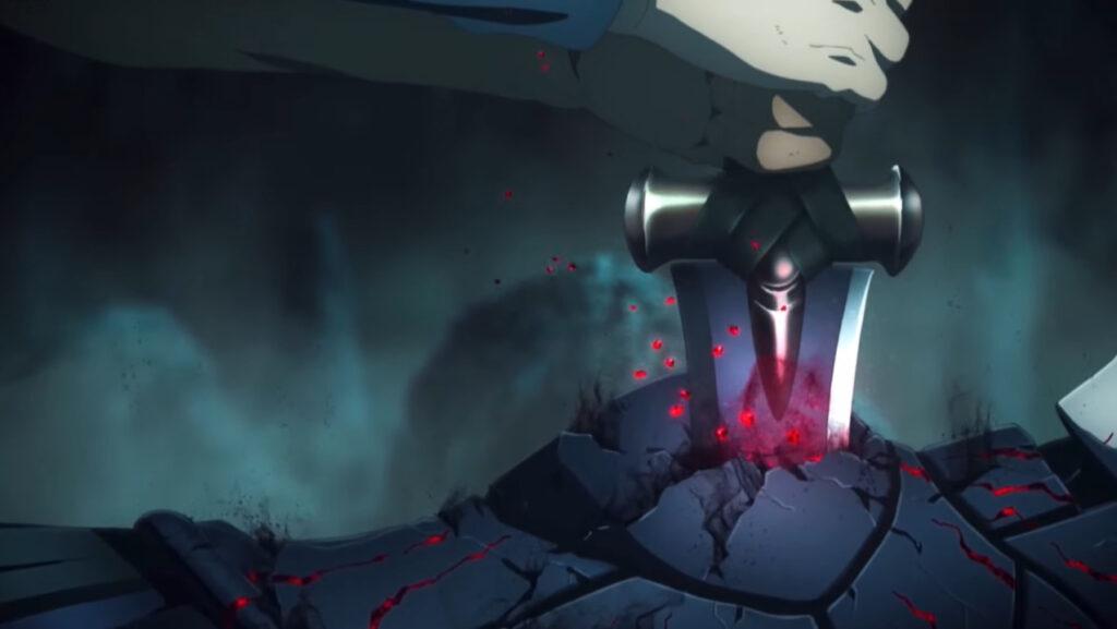 衛宮士郎が、瀕死のセイバーオルタにトドメを刺す。