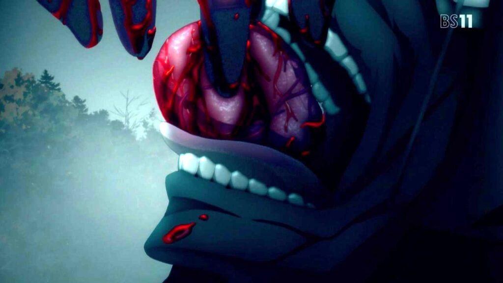 「真アサシン」(呪腕のハサン)は、ランサーの心臓を食べて思考力と言語能力がアップ。ランサーの心臓を取り込んで戦闘力が強化された。