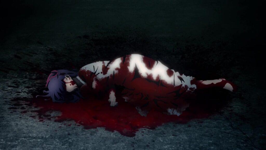 ギルガメッシュの足をもぐもぐ食べている間桐桜は、全身血だらけだが、立ち上がり復活する。