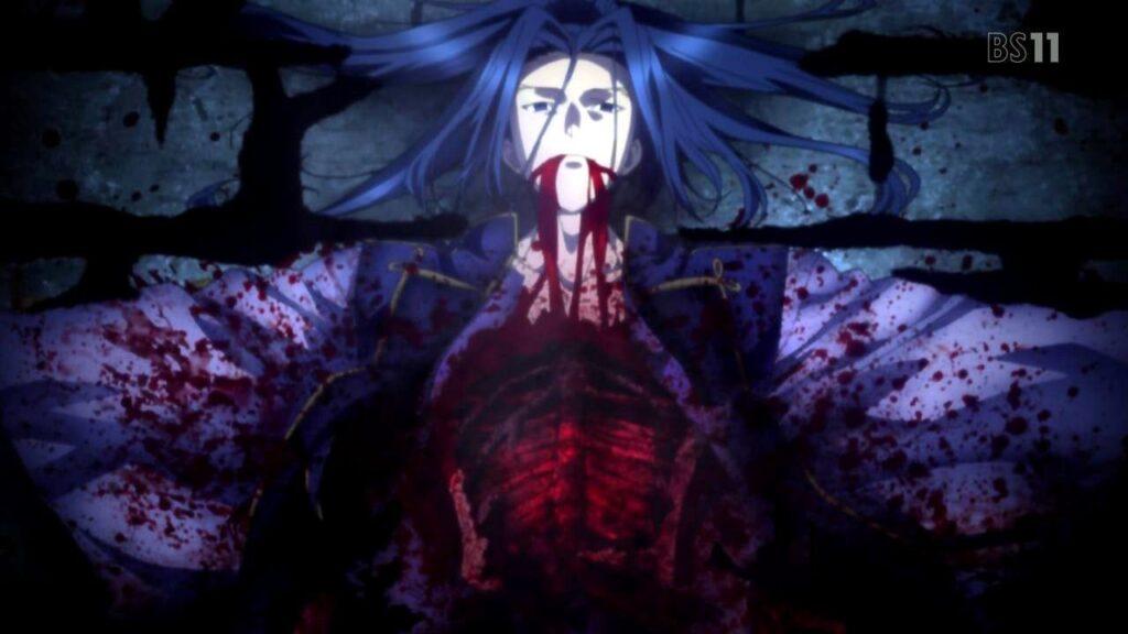 佐々木小次郎(アサシン)は、生きたまま体内から身体を引き裂かれるという凄惨な最期を迎えた。トラウマ必至の非常にグロい死体映像となった。
