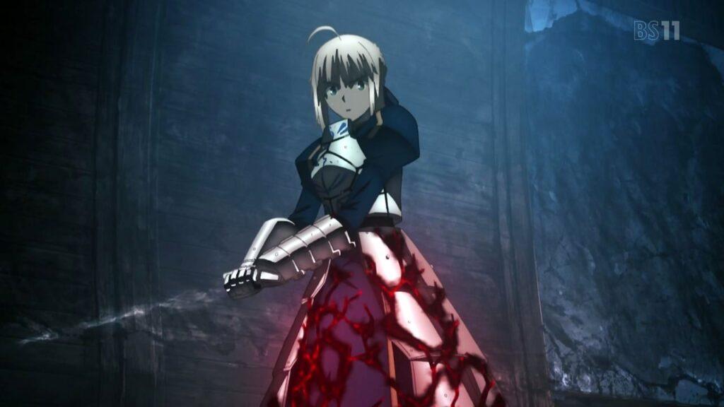 セイバーは、「間桐桜」の黒い影に飲み込まれてしまった。以後は、セイバーオルタとして、劇場版『Heaven's Feel』では第1章のラストで先行登場する。