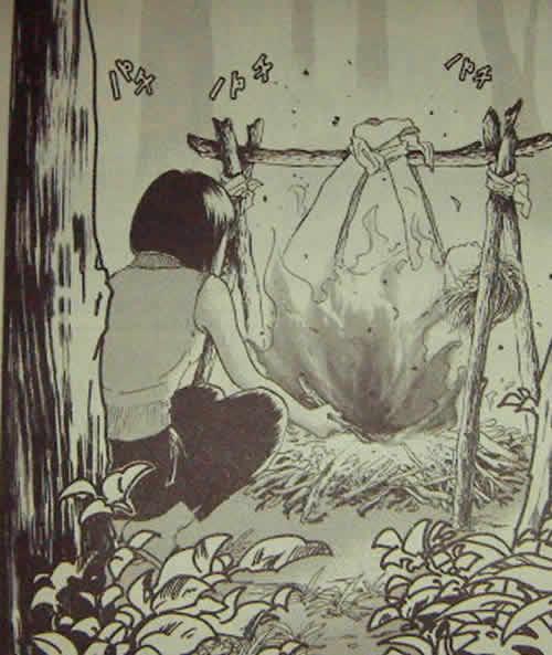 問題視された「人肉食の描写」(沖さやかの漫画『マイナス』第31話「遭難クッキング 後編」)