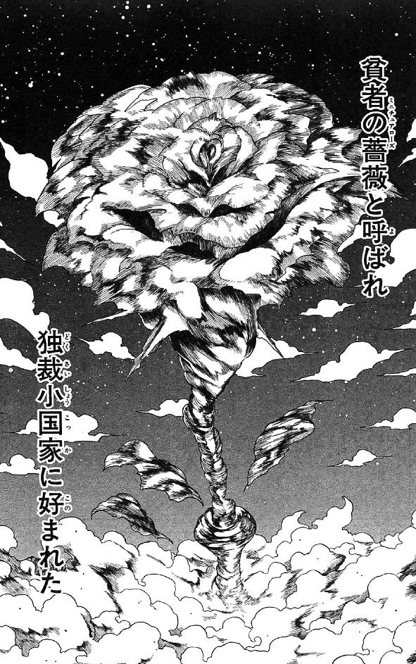 ハンター協会会長アイザック=ネテロが自身の体内に仕込んであった爆弾「貧者の薔薇」を起動し、自らの命と共に兵器実験場諸共メルエムを吹き飛ばした。