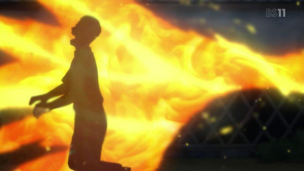 炎に包まれ、焼け落ちていく蔵の中で母に抱き寄せられるミチルは命が尽きる直前、自身の強い怨念がこもった業火を爆発させ、暴走するがままに全てを焼きつくしたのだった。