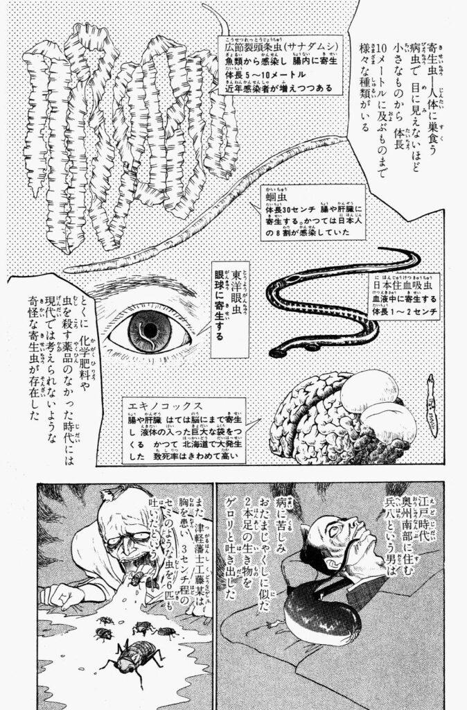 寄生虫の解説。江戸時代、奥州南部に住む男は病に苦しみ、おたまじゃくしに似た二本足の生き物をゲロリと吐き出した。また、津軽藩士の男は胸を患い、3cm程の蝉のような虫を6匹も吐いたという。
